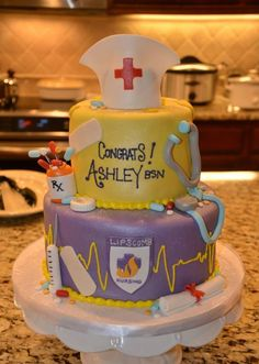 Nursing graduation cake, but with maroon&gold icing for ULM