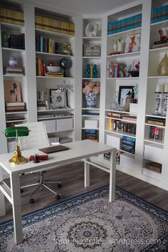 Billy Bookcase Built-In with Corner Unit DIY: Our Library Reveal – turquoise toffee Bookcase Desk, Bookcase With Glass Doors, Corner Bookshelves, Built In Bookcase, Ikea Built In, Built In Desk, Home Office Space, Home Office Design, Billy Ikea