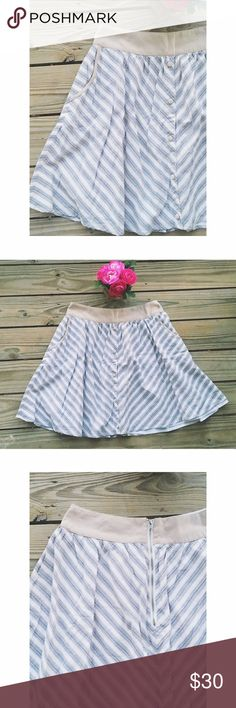 """✨f l a s h  s a l e✨ ❥❥❥Sophisticated yet feminine, this high waisted skirt is very flattering and versatile. Pair it with any top for a classic style with curve appeal.  d e t a i l s ➽ Bought at Anthropologie ➽ like new, banded waist w/ vintage buttons, front slip pockets & back zipper ➽ white/tan neutral tones & light blue diagonal stripes create a classic, slimming style ➽ no trades  c o n t e n t ➽ shell/lining 100% cotton ➽ waist 28"""" / length 19.5""""  ☆ 15% discount when you bundle 2 or…"""