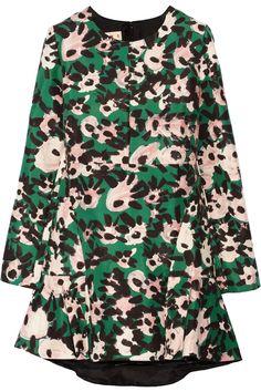 Marni|Printed cotton and silk-blend twill mini dress|NET-A-PORTER.COM
