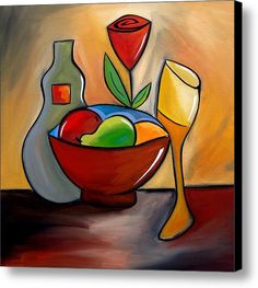 Staying In - Abstract Wine Art By Fidostudio Canvas Print / Canvas Art By Tom Fedro - Fidostudio