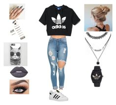 """""""Adidas"""" by evewalts16 ❤ liked on Polyvore featuring adidas, Forever 21, Lime Crime and adidas Originals"""