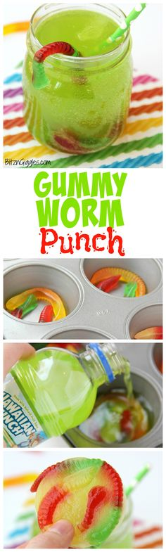 Gummy Worm Punch - Kids will love sipping on this drink in the summer! Great idea for birthday parties, St. Patrick's Day and Halloween, too! Gummy worms are frozen in a punch mixture and emerge from (Halloween Bake For Kids) Halloween Desserts, Hallowen Food, Halloween Food For Party, Halloween Treats, Halloween Birthday, Halloween Drinks Kids, Halloween Dinner, Halloween Baking, Halloween Cocktails