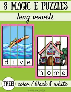 These magic E long vowel puzzles are a fun way to practice long vowel words following the Magic E spelling pattern!