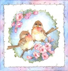 Comfy Cozy watercolor by Carolyn Shores Wright. Decoupage Vintage, Art Vintage, Bird Pictures, Pretty Pictures, China Painting, Bird Drawings, Cute Birds, Bird Prints, Bird Art