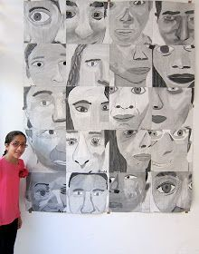 Upper School Art (Grades 7-12): Grade 8 monochromatic cropped self portraits