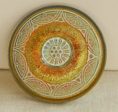 Large Lacy Round Czech Glass Button
