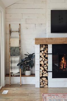 Kate & Tony Becker's Northern-Inspired Home - Midwest Home Wood Holder For Fireplace, Fireplace Logs, Fireplace Built Ins, Shiplap Fireplace, Farmhouse Fireplace, Fireplace Remodel, Fireplace Design, Fireplaces, Fireplace Ideas