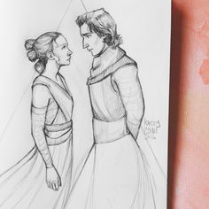 artofkaceylynn: It's Star Wars Day sooo I drew Rey and Kylo staring at each other. That's appropriate, right? follow me on instagram   visit my redbubble shop