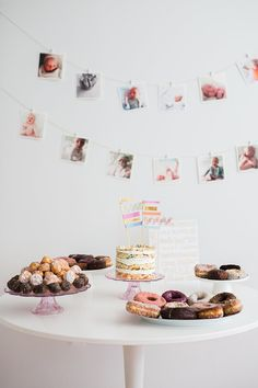 Lila's first birthday donut party Donut Party, Donut Birthday Parties, Simple First Birthday, First Birthday Photos, Diy 1st Birthday Decorations, Birthday Ideas, Photo Garland, Photo Bunting, Party Entertainment