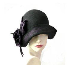 Black Felted  Hat felt hat Cloche Hat1920 Hat Art hat