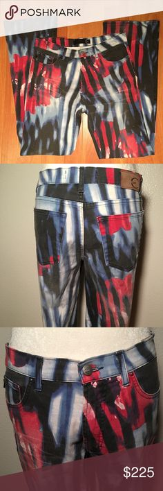 🇮🇹 Just Cavalli Red, White, Blue Flower Jeans Just Cavalli Red, White, Blue Flower Printed Jeans Size 30  Put your edgy artistic side on display on these Just Cavalli Red, White, and Blue Flower jeans.   Just Cavalli multi color jeans. Features front and back pockets. A statement piece, these jeans are a must have. They would look great with an off the shoulder black top and some and high heels.  Made in Italy 🇮🇹 Just Cavalli Jeans Straight Leg