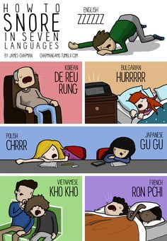 Yesterday, we saw James Chapman's illustration teaching us how to tell people to shut up in 6 different languages. Today, we're learning from Chapman how to snore in Japanese, French, a… Learning Spanish, Learning Resources, Fun Learning, Teaching Ideas, Learn French, Learn English, Learn German, Communication Interculturelle, James Chapman