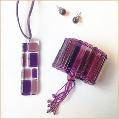Glass jewelry • 3-piece Purple set
