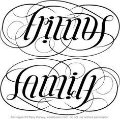 """Friends"" & ""Family"" Ambigram v.1 by tiffanyharvey, via Flickr"