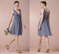 Sangria Bridesmaid Dresses Classical Steel Elegant V Neck With Romance Lace Back Chiffon Knee Length 2014 Spring New Arrival Bridesmaid Dresses Wedding Party Gown Bridesmaids Dresses Online From Juliaweddingdress, $74.61| Dhgate.Com
