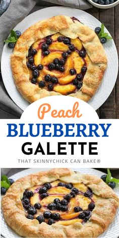 Peach Blueberry Galette - A gorgeous summer dessert with all the flavors of pie without all the work! #galette #peachtart #peaches #blueberries #summerdessert #thatskinnychickcanbake Easy No Bake Desserts, Homemade Desserts, Best Dessert Recipes, Desert Recipes, Easy Desserts, Sweet Recipes, Delicious Desserts, Cookie Desserts, Pastry Recipes