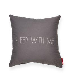 Sleep with Me Grey Throw Pillow