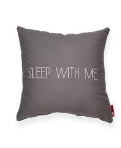 Sleep with Me Grey Throw Pillow $36