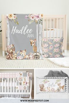 Love this woodland nursery decor for your baby girl nursery! Check out the shop for the full nursery set and matching removable wallpaper! Woodland Nursery Bedding, Baby Girl Crib Bedding, Cribs, Baby Wishes, Girl Nursery Themes, Baby Rooms, Easter Gift, Alexandria, Car Seat