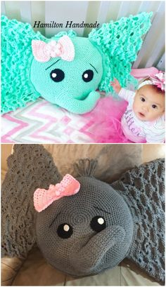 You will love to make an Elephant Pillow Crochet Pattern and Josefina and Jeffery are crowd favorites. Check out all the ideas now. Crochet Fish Patterns, Crochet Elephant Pattern, Crochet Pillow Pattern, Cute Crochet, Crochet Toys, Crochet Baby, Crochet Afghans, Elephant Pillow, Baby Elephant