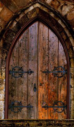Wooden medieval door from themagicfarawayttree Porte Cochere, Arch Doorway, Entrance Doors, Front Doors, Cool Doors, Unique Doors, Door Knockers, Door Knobs, Medieval Door