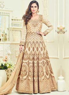 Beige Embroidery Work Banglori Silk Santoon Designer Fancy Long Anarkali Suit
