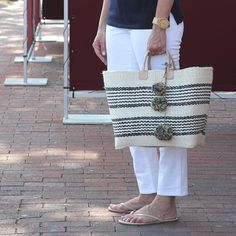 Did you see my favorite summer accessories.. Best purchases.. Ever .. :handbag::watch: #ontheblog #linkinbio (shop page)  #accessories #straw #tote @talbotsofficial #watch @wewoodwatch
