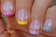 #Pastel #frenchmanicure with #flower #nailart French Manicure Nails, French Manicure Designs, French Nails, Nail Designs, Easy Nail Art, Nail Tutorials, Simple Nails, Easy Diy, Hair Beauty