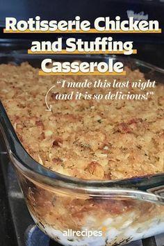Easy Casserole Recipes, Casserole Dishes, Chicken Stuffing Casserole, Chicken Casserole With Stuffing, Casserole Ideas, Easy Recipes, Recipes Using Rotisserie Chicken, Chicken Recipes, Cassoulet