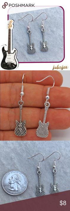 "🎸SILVER GUITAR🎸 earrings 🎼 NWT boutique antiqued silver earrings with fish hook style closure.  Backs will be included (not shown in photo).  Super cute!!!  Make sure to check out all of my other items, I have 25% off ALL bundles!  (2items= 25% off order).  I'm a suggested user, fast shipper, and I send free gifts all the time! Check out my ""love notes"" for reviews (I have 100+!!) so buy with confidence 😎 Jewelry Earrings"