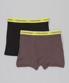 Look at this #zulilyfind! Black & Charcoal Boxer Briefs Set - Boys by Calvin Klein Underwear #zulilyfinds