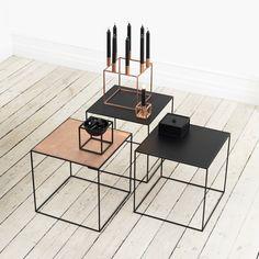 "Twin Very Versatile Table Copper/Black 16.5"" x 16.5"" [42 x 42 cm] reversible copper/black top.  Mogens Lassen, Denmark."