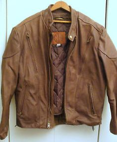 Kerr-Mens-brown-leather-motorcycle-jacket-with-liner-size-42