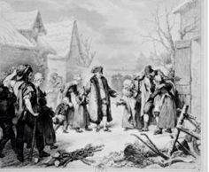 Luis XVI repartiendo ayuda entre sus súbditos del pueblo en los alrededores del palacio ,enel crudo invierno de 1788.