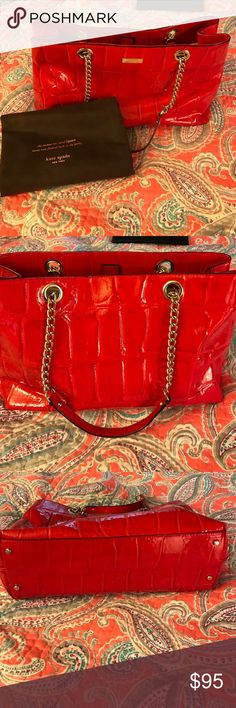 Kate Spade patent leather bag Red Kate Spade patent leather bag. EUC carried for the holidays. Got tons of compliments on how pretty it is. Comes with dust bag. kate spade Bags Shoulder Bags