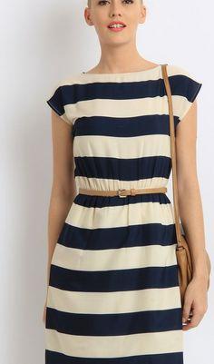 Trending striped nautical drop-shoulder belted a-line-dresses best for vacation  via @Roposo