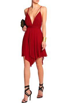 Balmain | Draped jersey-crepe mini dress | NET-A-PORTER.COM