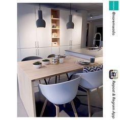 Kombiner kjøkkenøya med en hyggelig spiseplass til familien. Hos @noremaoslo har de brukt heltre benkeplate som spisebord, praktisk og… Hygge, Conference Room, Table, Furniture, Home Decor, Decoration Home, Room Decor, Tables, Home Furnishings