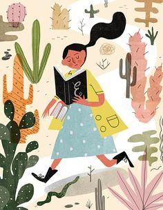 Immersed in reading… in the desert / Inmersa en la lectura… por el desierto (ilustración de Aleks Sennwald)