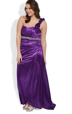 Plus Size Long Homecoming Dress with One Shoulder Flower Strap and Train
