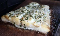 Cedar Planked Halibut with Herb Butter
