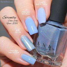 Serenity - Pantone Color of the Year 2016: Essie Bikini So Teeny, China Glaze Boho Blues, ILNP Peri Me, China Glaze Fade Into Hue