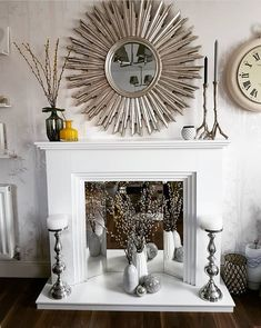 Great Pics Faux Fireplace mirror Style I enjoy a superb faux fireplace , permits always be serious I'd personally LOVE a fire during my b Faux Fireplace Insert, Faux Fireplace Mantels, Candles In Fireplace, Fireplace Inserts, Fireplace Design, Fireplace With Mirror, Fireplaces, Fireplace Modern, Fireplace Ideas