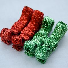 Sparkle Christmas Bows - Green and Red Hair Clips