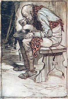 """From 'The Old Man and His Grandson'. """"Grimm's Fairy Tales"""" illustrated by Arthur Rackham, 1909"""