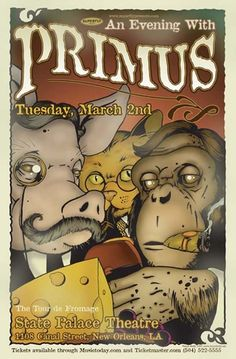 Primus Concert Poster by Vance Kelly