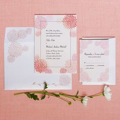 "Image of ""Dahlia"" wedding invitation and RSVP card set - Pink - @sweetgraphics.bigcartel.com"