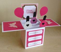 Handmade Card in a box, unique birthday greeting card, box card/3D card.