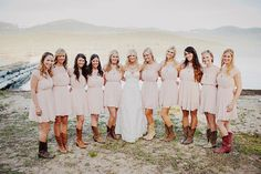 bridesmaid-dresses-with-cowboy-boots-short-wedding-dresses-and ...